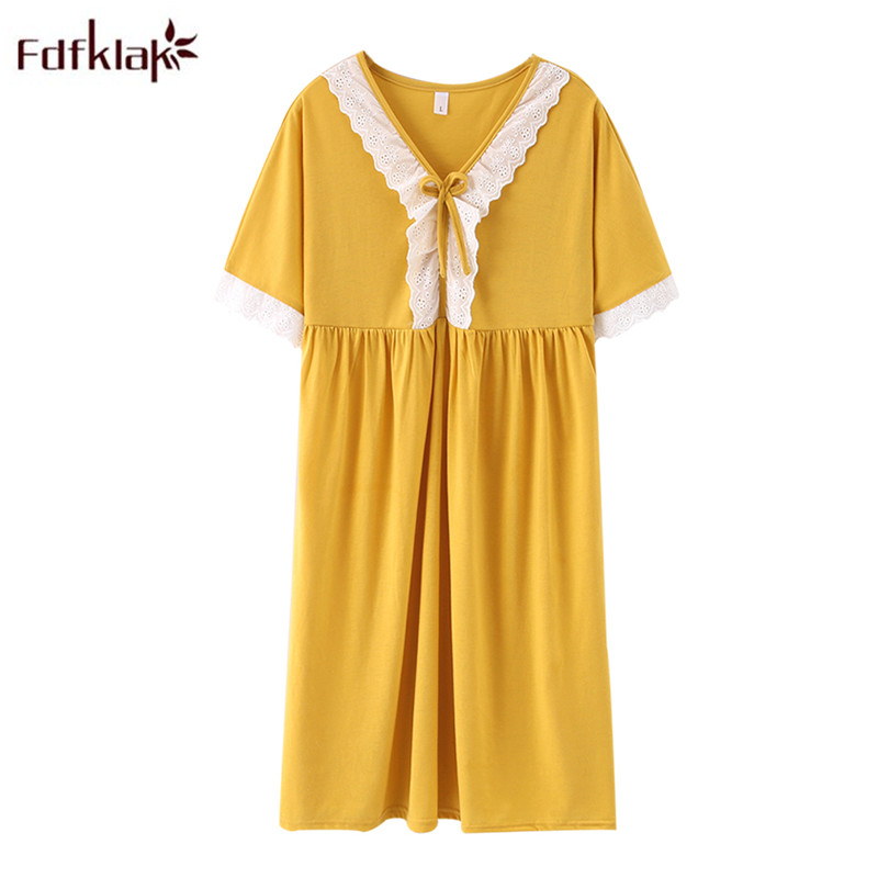 Fdfklak Nightdress Female Cotton Summer Night Dress Loose Fat 100 Kg Princess Style Plus Size Nightgown Women Sleepwear M-5XL