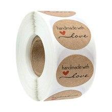 50-500 pces kraft papel caseiro com amor adesivos scrapbooking para o envelope e pacote selo etiquetas etiqueta papelaria artesanal
