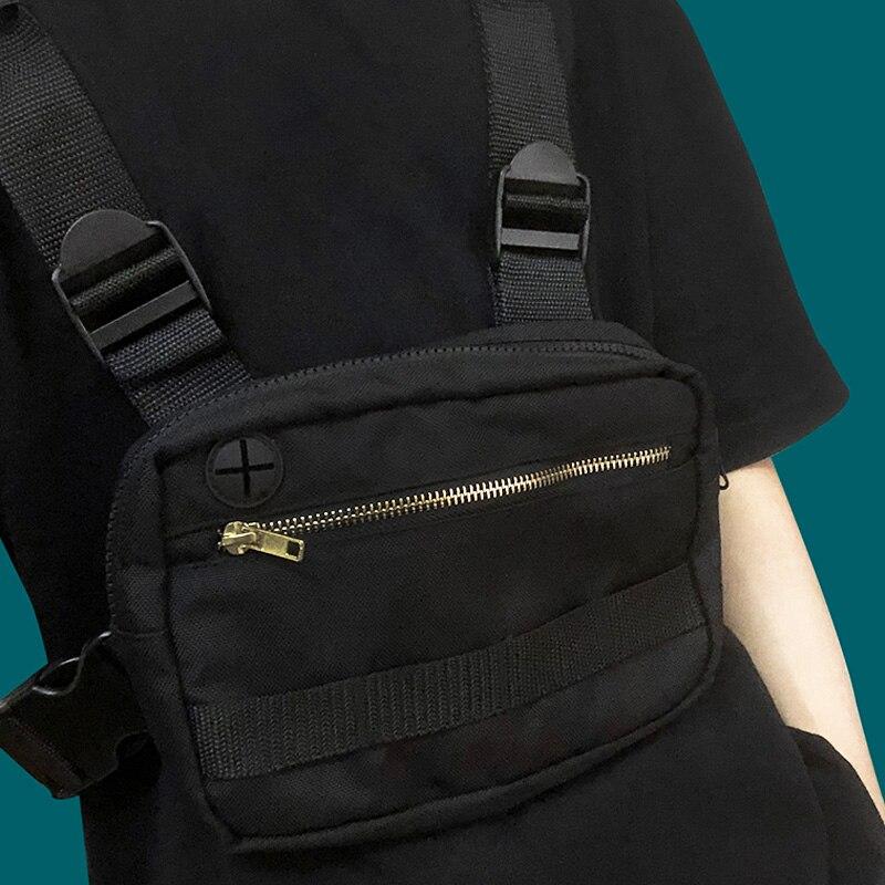 Tactical Chest Rig Bag Streetwear Unisex Hip Hop Chest Bag Harajuku Function Black Vest Bag Adjustable Waist Pack Kanye West