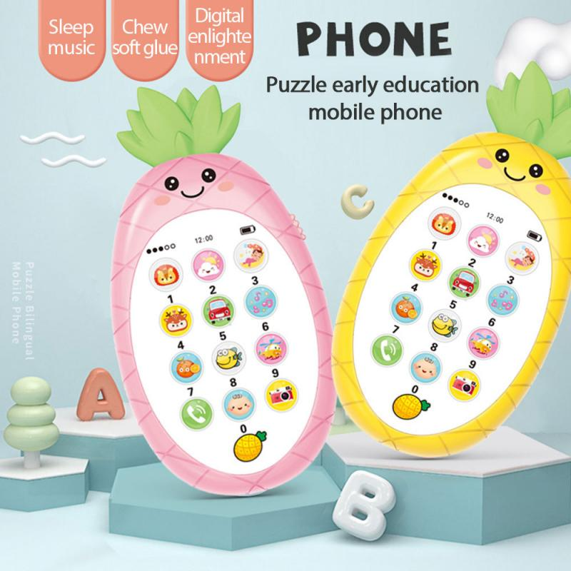 Kids Simulation Mobile Phone Carrot Shape Electronic Button Toy Cellphone Simulation English Music Phone Baby Education Toy