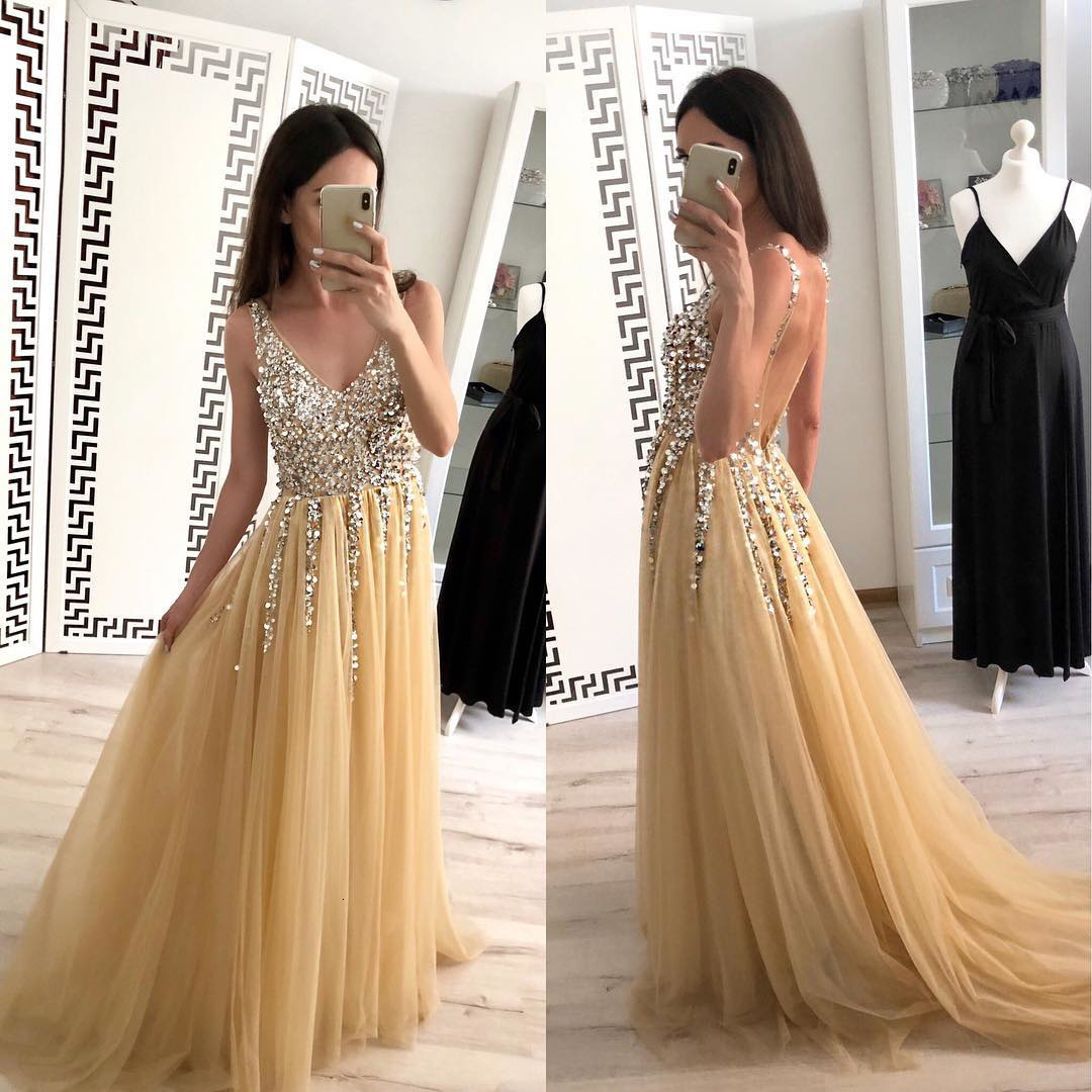BacklakeGirls Sexy V Neck Backless Sequined Long Prom Dresses Vestidos Alibaba China Floor Length Cheap Evening Dress In Stock
