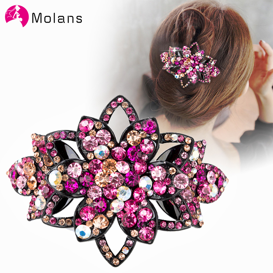 Molans Women Crystal Rhinestones Hair Clips Flower Bowknot Spring Hair Clip Hairpin Hollow Colorful Solid Floral Headwrap Clips