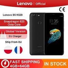 Globalna wersja Lenovo S5 K520 4GB RAM 64GB ROM Smartphone Snapdragon 625 Octa rdzeń podwójny tylny 13MP przód 16MP twarz ID telefon