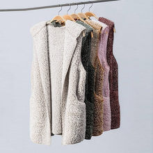 Sexy Womens Vest Winter Warm Hoodie Outwear Casual Coat Jacket Open Front Cardigan Sleeveless Female Vest Fall Waistcoat F815(China)