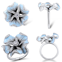 Rings for Women Meteorite Ring anillos mujer accesorios Copper jewerly Periwinkle Flower Elegant Wedding D4
