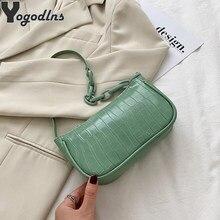 Crocodile motif Baguette sac à main pour femmes 2021 couleur bonbon dames petits sacs à bandoulière mode chaîne conception en cuir PU aisselles