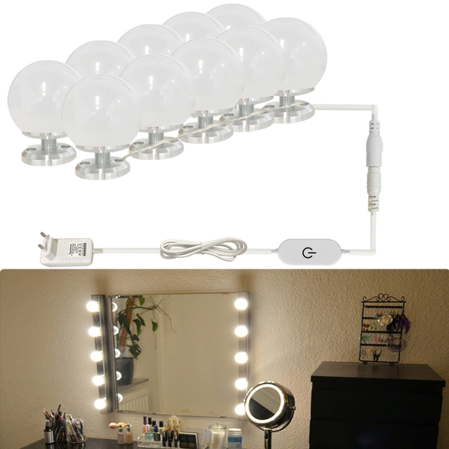 Hollywood Style Make up lamps Cosmetic Bulb 110V-220V to 12V Embedded install Removable Screw on Stepless Dimmable Mirrors light