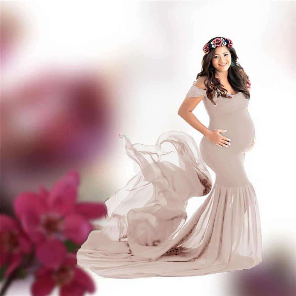Long Maternity Photography Props Pregnancy Dress For Photo Shooting Off Shoulder Pregnant Dresses For Women Maxi Maternity Gown (1)