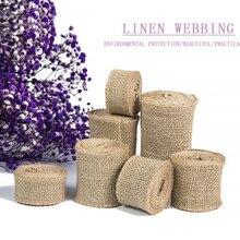 2m/roll Jute Burlap Ribbon Natural Hemp Webbing DIY off white Bag Material Wedding Party Crafts Decorative Gift Warrping