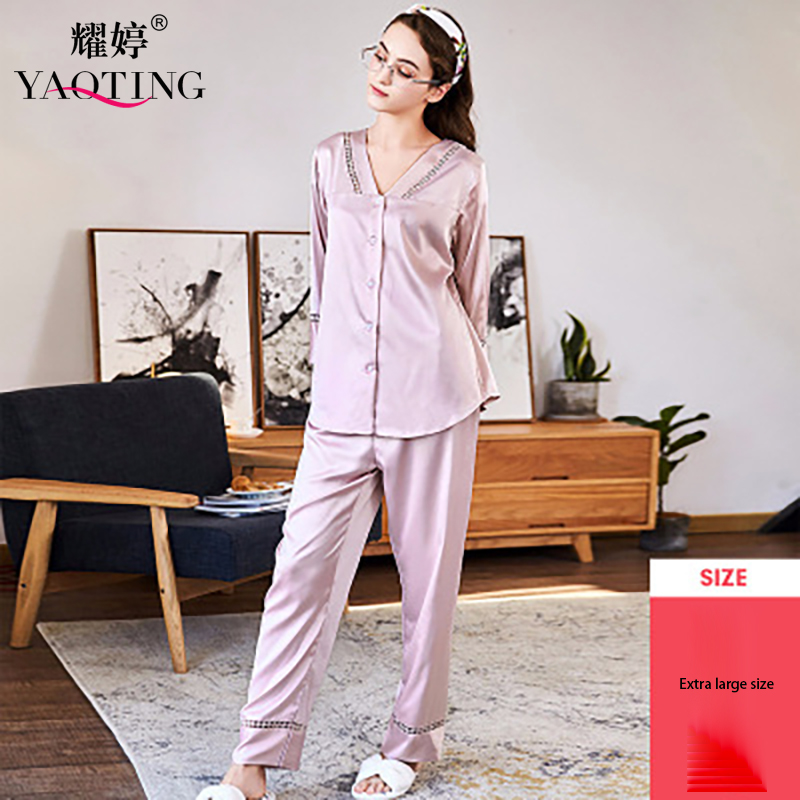 Add fat to increase, cross border women autumn long sleeve pajamas two sets oversize