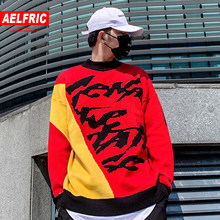 AELFRIC Hip Hop Color Clock Knitted Men Sweater 2019 Harajuku Streetwear Tops Fashion Ripped Casual Cotton Male Pullover Outwear(China)