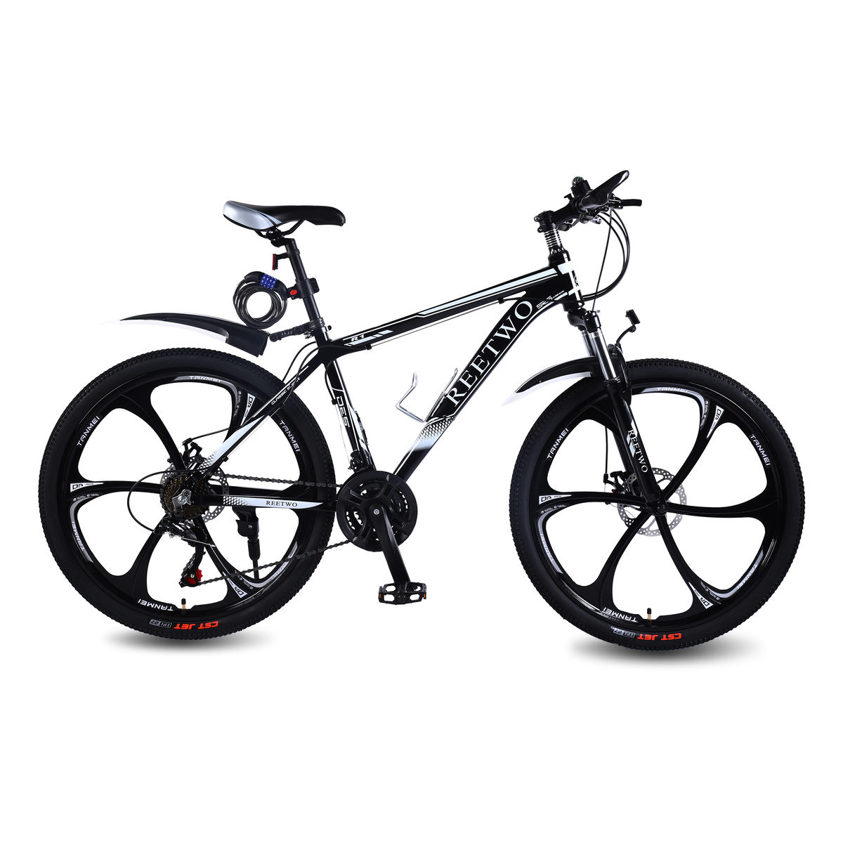 REETWO R1 26 Inchs 21 Speed  Mountain Bike Road Bicycle With Six Blade Wheel Disc Breaks And Aluminum Frame Downhill MTB Black
