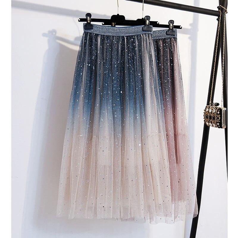 2020 Womens Clothing Korean Style Gradient Starry Sky Mesh Skirt Summer Fashion Elaistic Waist Tulle Mesh Skirt Jupe Tulle Femme