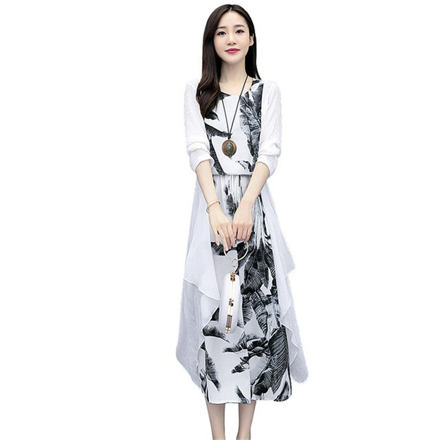 Cotton And Linen Dress Suit Plus Size 2020 Spring Summer Loose National Style Printed Women's Elegant Dress Two-piece Set W2050 5