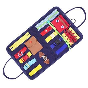 Juguetes Montessori para niños, tablero sensorial educativo esencial de entrenamiento con hebilla de placa, para niños pequeños