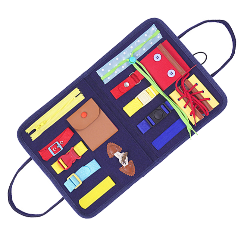 Crianças montessori brinquedos bebê ocupado placa fivela treinamento essencial educacional placa sensorial para crianças ntelligence desenvolvimento