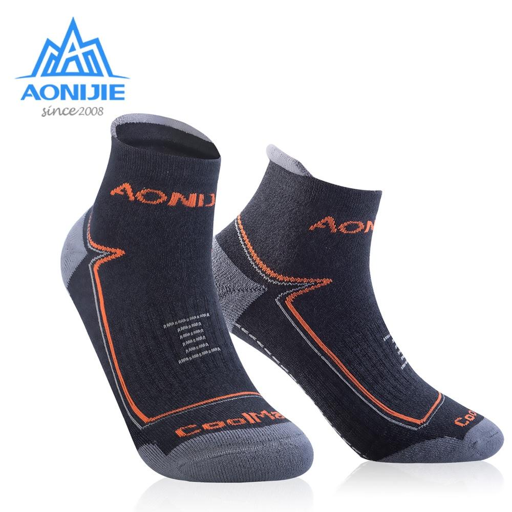 AONIJIE Outdoor Sports Sock Running Athletic Performance Tab Training Cushion Quarter Compression Socks Heel Shield Cycling