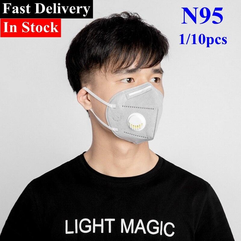 1/10pcs N95 Folding Protective Ear Band Mask With Breathing Valve Anti-Fog Dust Mask Gray Ear Band Unisex
