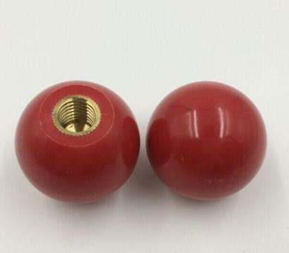 Red Plastic Round Handle Ball Knob M10 Threaded 40mm Dia Machine Tools 5Pcs