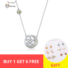 Strollgirl 100% 925 Sterling Silver Shiny Moon Star Necklace With Yellow CZ Round Shape Pendant Christmas Gift 2019 New