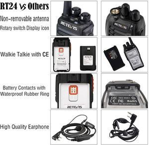 Image 4 - Retevis RT24 PMR Radio Walkie Talkie 2pcs 0.5W PMR446 License free Two way Radio Station Handy Walkie talkies Radio Communicator
