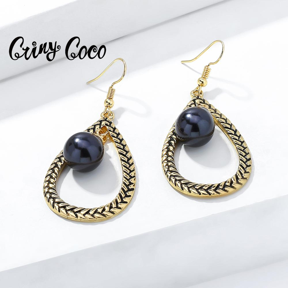 Cring Coco Water Drop Earrings for Women Classic Big Geometric Gold Color Dangling Earring Holiday Jewelry Hawaiian Summer Girls