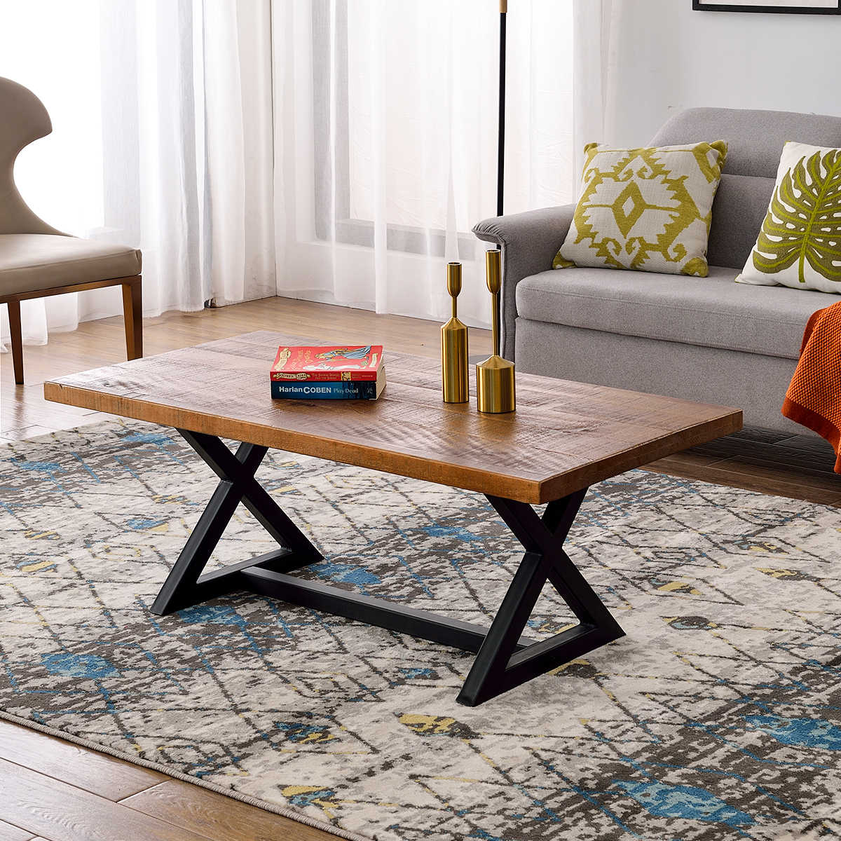 New Nature Wood Coffee Table Easy Assembly Tea Table Rustic Industrial Cocktail Table For Living Room With X Shaped Metal Frame Coffee Tables Aliexpress