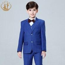 2020 New 3PCS Kids Plaid Wedding Blazer Suit for Christening