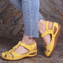 Verano Sandalias Mujer Zapatos cómodos Floral tobillo hueco punta redonda sandalias suela suave Zapatos De Mujer 2020