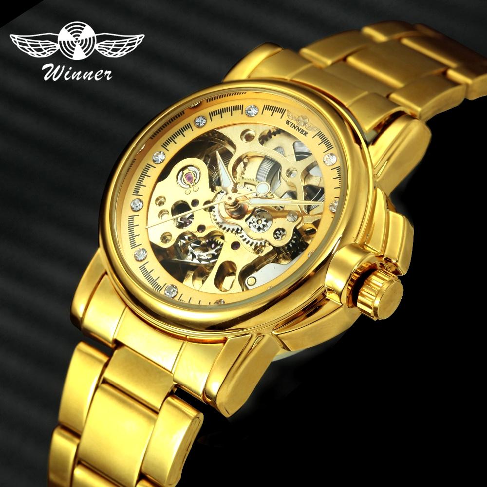 WINNER Royal Women Golden Auto Self-wind Mechanical Watch Stainless Steel Skeleton Dial Crystal Elegant Wristwatch