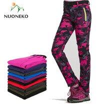 NUONEKO New Women Men Fleece Warm Hiking Pants Outdoor Sport Camping Fishing Skiing Trekking Waterproof Windproof  Trousers PM24