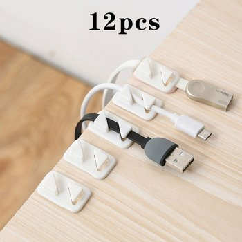 12pcs Universal Wire Tie Self-adhesive Rectangle Cord Management Winder Cable Holder Organizer Mount Clip Clamp Plastic ACEHE image