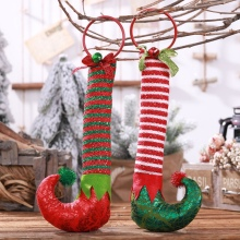 Christmas Pendant Striped Elf Boots Xmas Tree Door Hanging Decoration for Home Wooden Ornaments Gift Kids