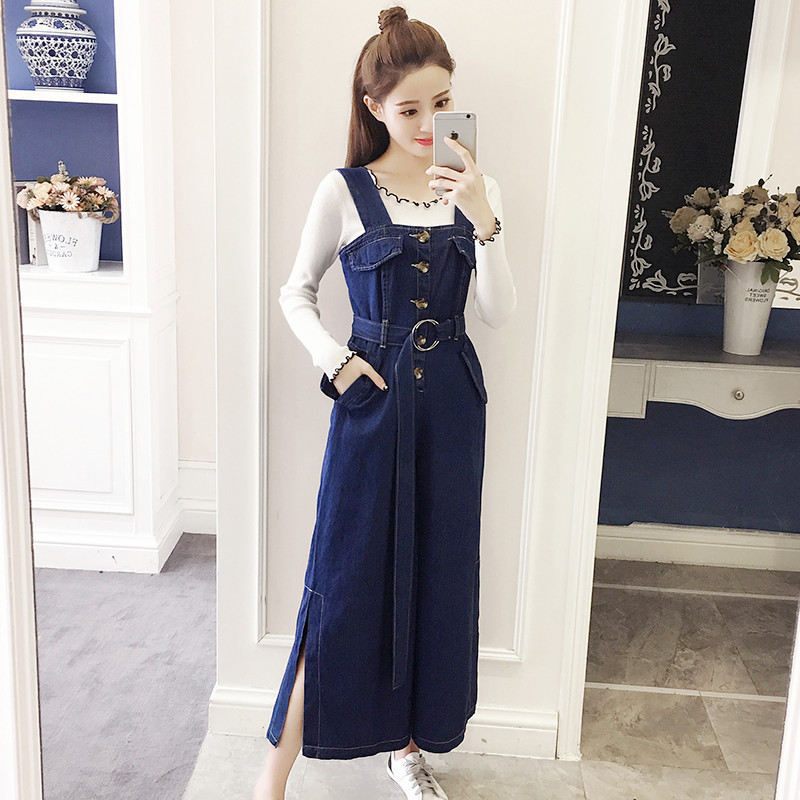 2019 Spring And Autumn New Style Cowboy Suspender Pants High Loose Pants + Base Frilled Sweater