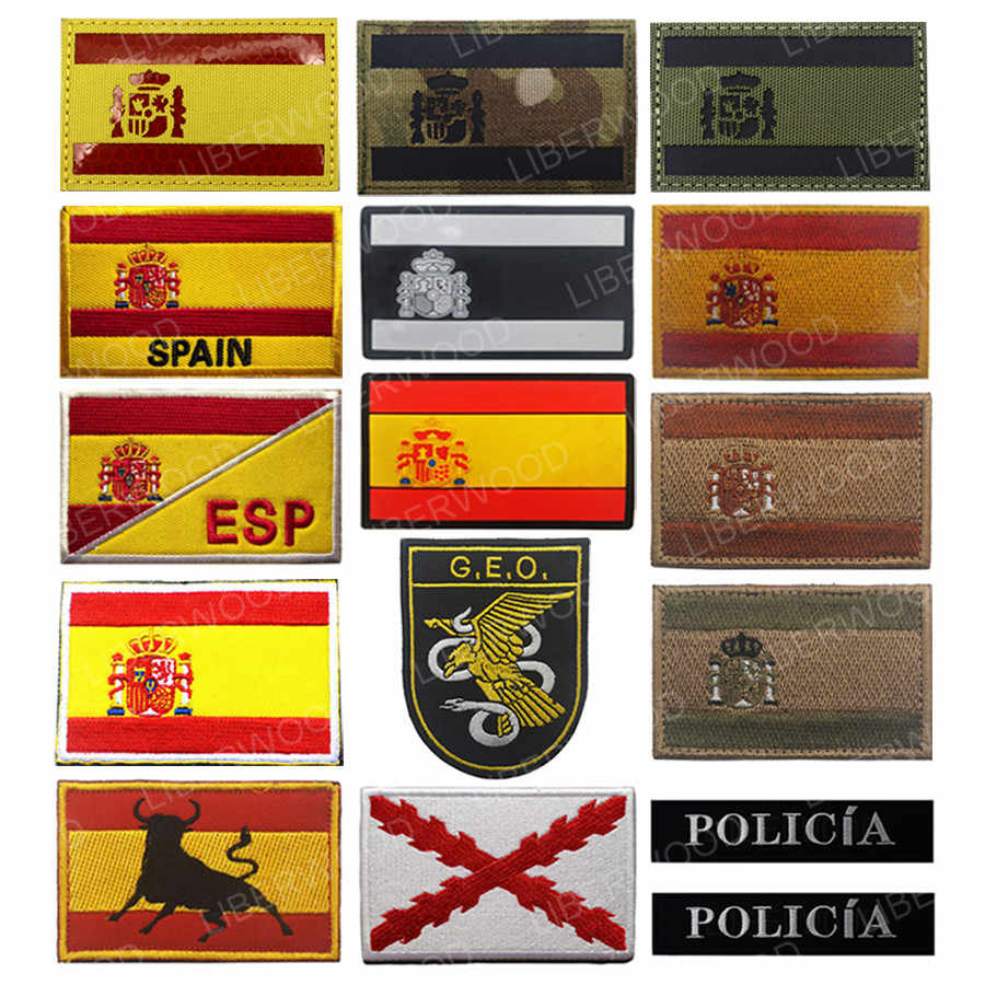 Spanyol Bendera IR Patch Polisi Anti Teroris Taktis Royal Tercios Bendera Cross Patch Burgundy Bahasa Spanyol GEO Patch Lencana Appliques