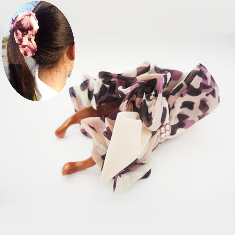 New bowknot Cloth art Stripe printed hairpin banana clips Claw Barrette Girls Women ponytail holder hair accessories clip