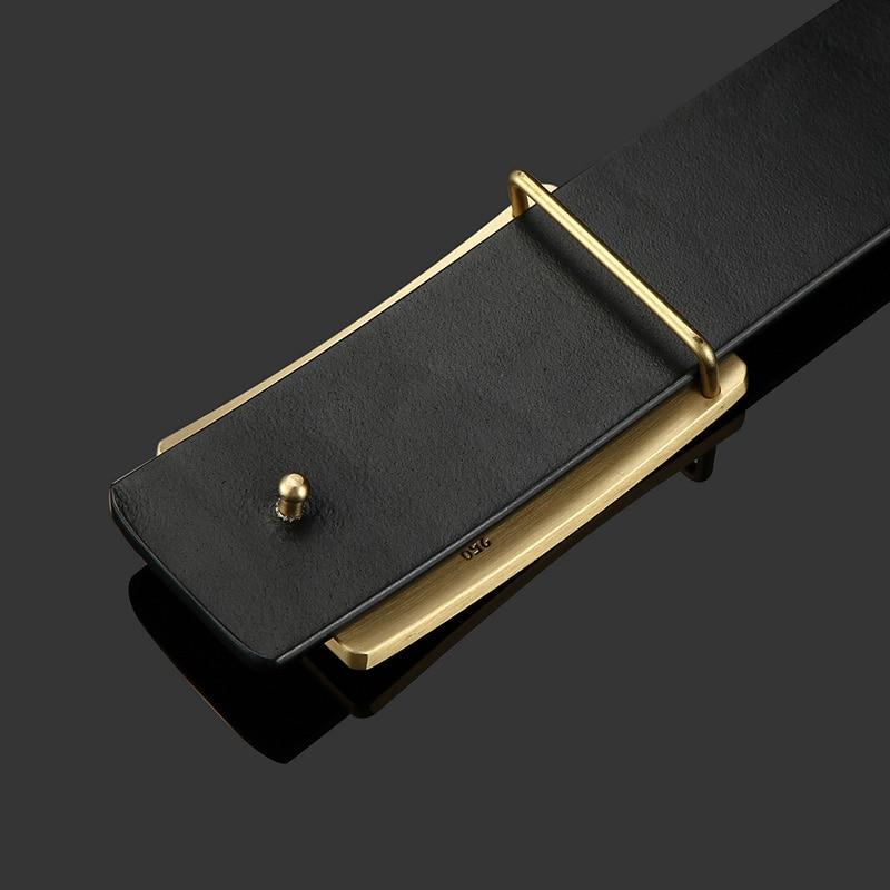 Image 2 - Mens Belt Cow Leather Belts Brand Fashion Solid Brass Smooth Buckle Black Genuine Leather Belts for Men Jeans Business 3.8cmMens Belts   -