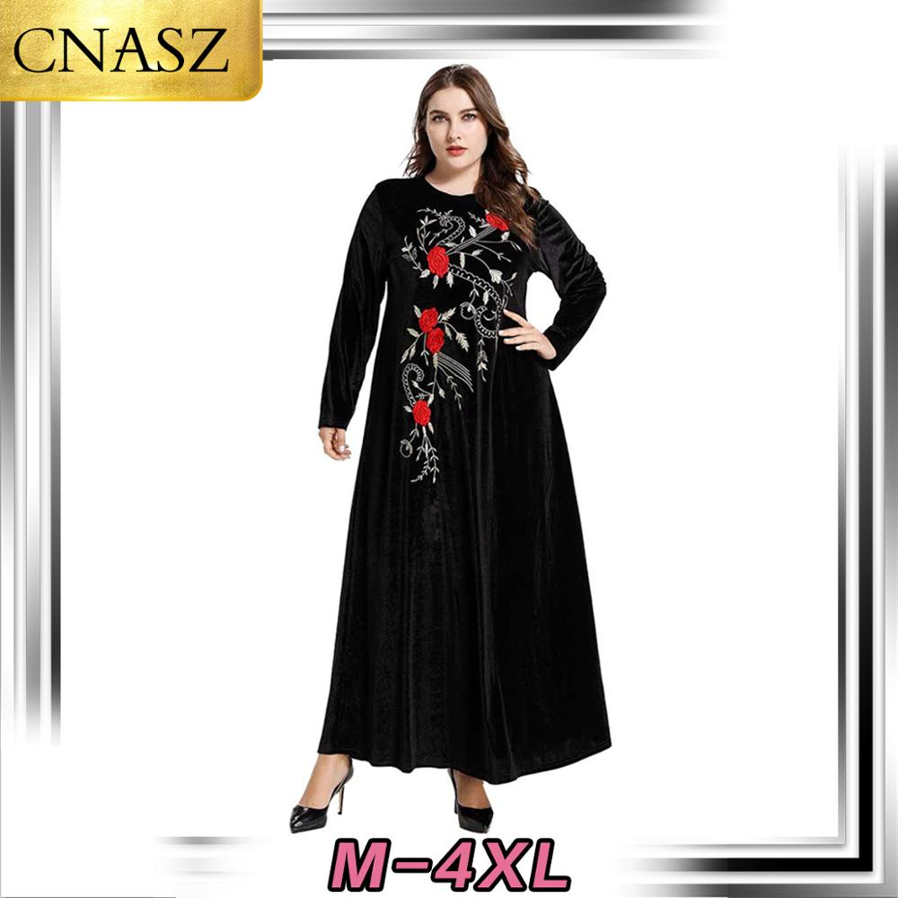 Islamic Turkey Fashion Large Size Women's Dubai Middle East Arab Gold Velvet Embroidered Long-Sleeved Muslim Casual Large Dress
