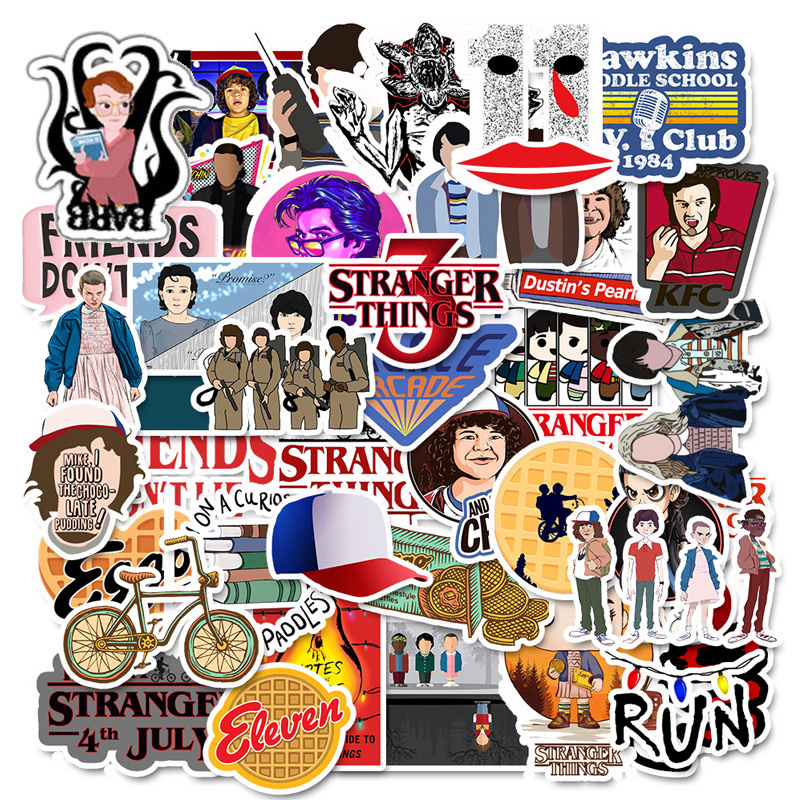 50 Pcs Stranger Thing Figure Stickers Set refrigerator Sticker For Luggage Skateboard Motorcycle Laptop Waterproof Sticker-in Stickers from Toys & Hobbies