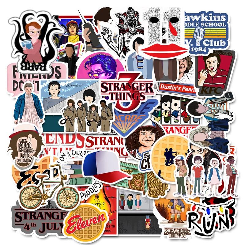 50 Pcs Stranger Thing Figure Stickers Set Refrigerator Sticker For Luggage Skateboard Motorcycle Laptop Waterproof Sticker