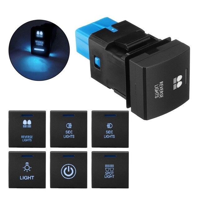 Dash Push Button Schalter Blau LED Licht 12V3A Neue Für Toyota Camry Hiace Corolla Land Cruiser Prado 150 Serie RAV4 altis 22*22mm