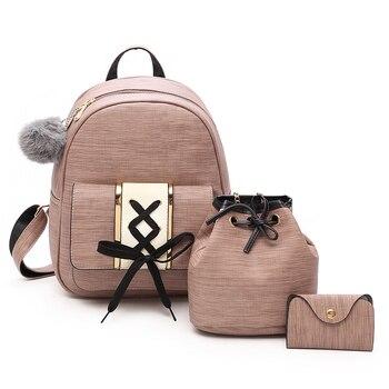 Женские модные рюкзаки, дизайнерские Школьные Сумки из искусственной кожи для девочек-подростков, высококачественный Женский комплект из 3...