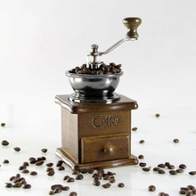 Manual Coffee Grinder, Coffee Bean Grinder, Vintage Antique Wooden Hand Coffee Burr Mill-Pear Wood Color