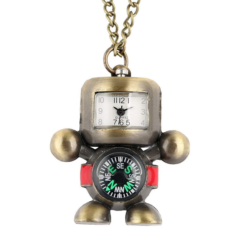 Delicate Robot Shape Pocket Watch Bronze Alloy Practical Compass Display Pendant Watch Necklace Hour Toys Gift For Men Women Kid