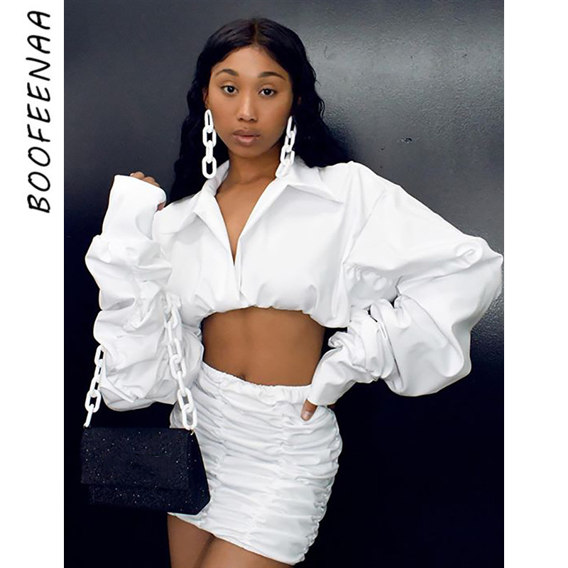 BOOFEENAA Sexy Ruched Puff Sleeve Two Piece Skirt Set Womens Clothing White Club Outfits Fall Winter Matching Sets C92-AG40