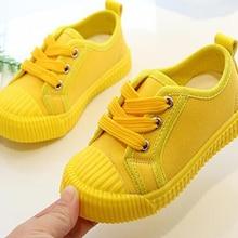 Для маленьких мальчиков холщовая обувь кеды для девочек; обувь для тенниса шнуровка носочки для детей, детей ясельного возраста яркого желтого цвета; женская обувь; Zapato; большие размеры Повседневное