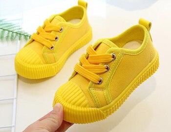 男の子キャンバスシューズテニスシューズレースアップ子供靴幼児ブライト · イエロー Chaussure Zapato カジュアル SandQ 赤ちゃん新しい