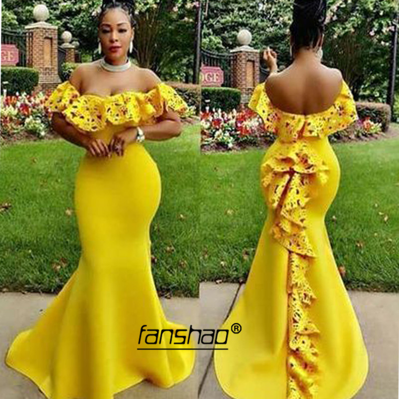 Yellow Evening Dresses Off Shoulder Laser Flowers Mermaid Dubai Saudi Arabic Evening Gown Boho Prom Dress