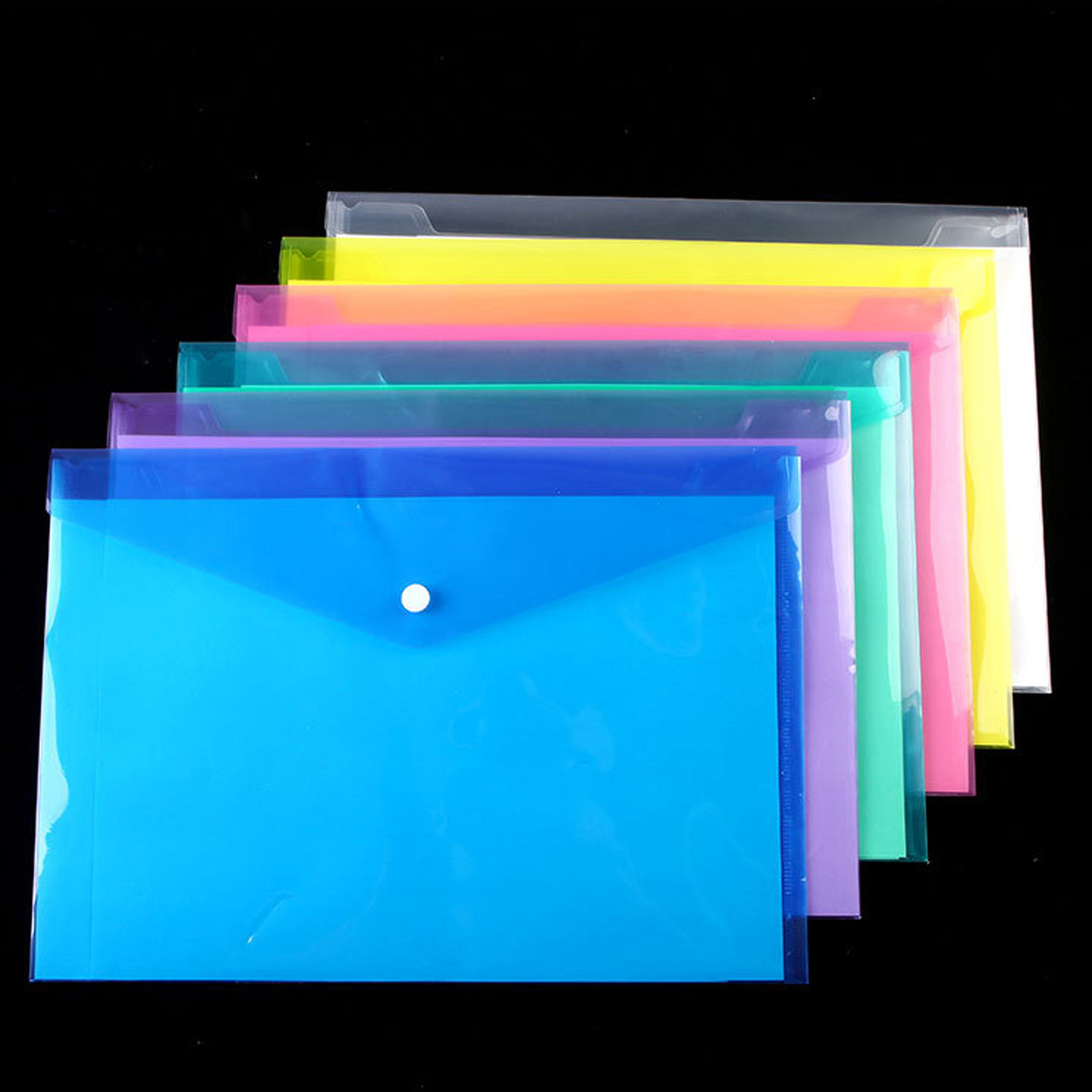 6pcs/lot Panper Pouch A4 Clear Document Bag Paper File Folder Stationery School Office  Bag Case PP 6colors