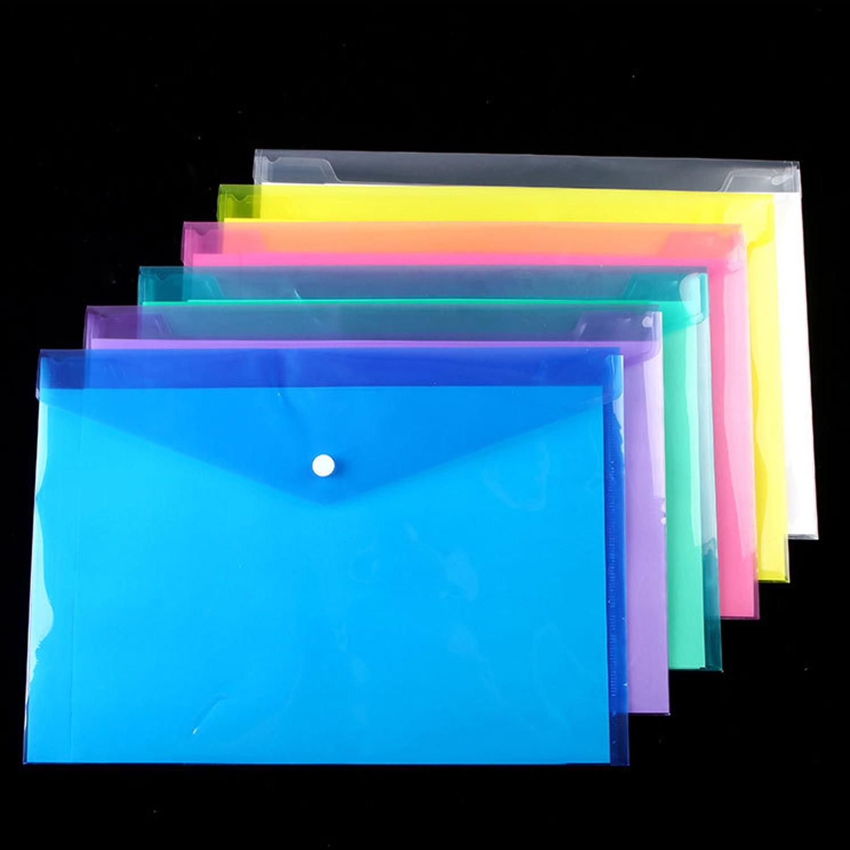 6pcs/lot Panper Pouch A4 Clear Document Bag Paper File Folder Stationery School Office  Bag Case PP 6colors